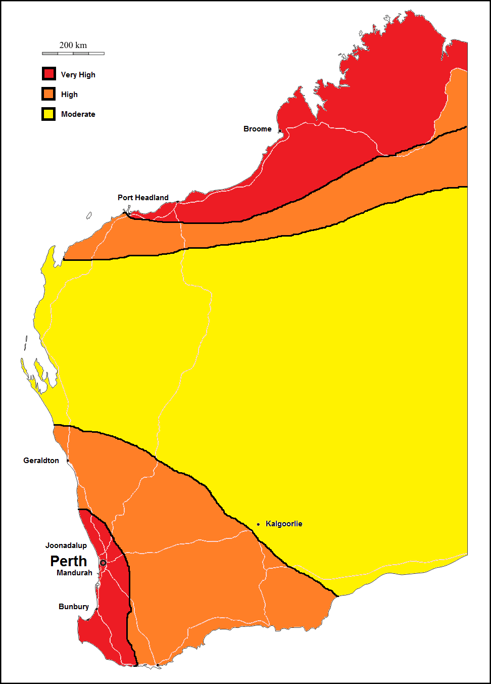 termite high risk area map of western australia